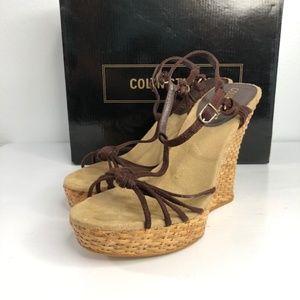 Colin Stuart T-Strap Basket Weave Wedge Sandal 6.5